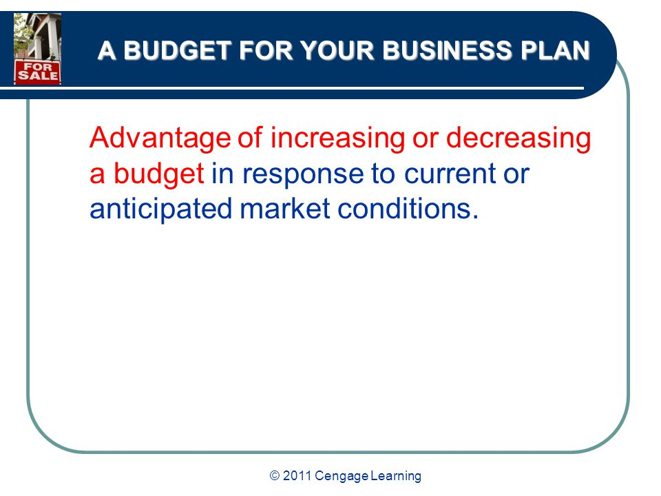 © 2011 Cengage Learning A BUDGET FOR YOUR BUSINESS PLAN Advantage of increasing or decreasing a budget in response to current or anticipated market conditions.