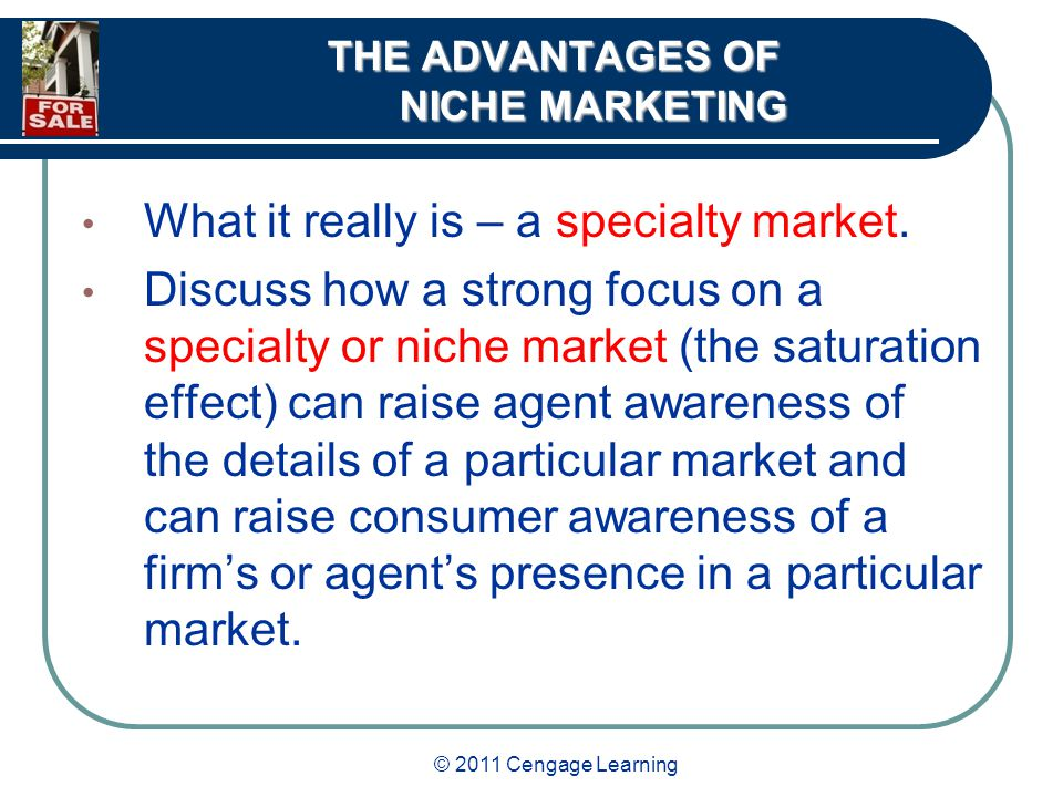 © 2011 Cengage Learning THE ADVANTAGES OF NICHE MARKETING What it really is – a specialty market.