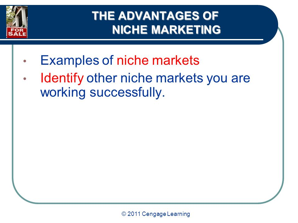 © 2011 Cengage Learning THE ADVANTAGES OF NICHE MARKETING Examples of niche markets Identify other niche markets you are working successfully.