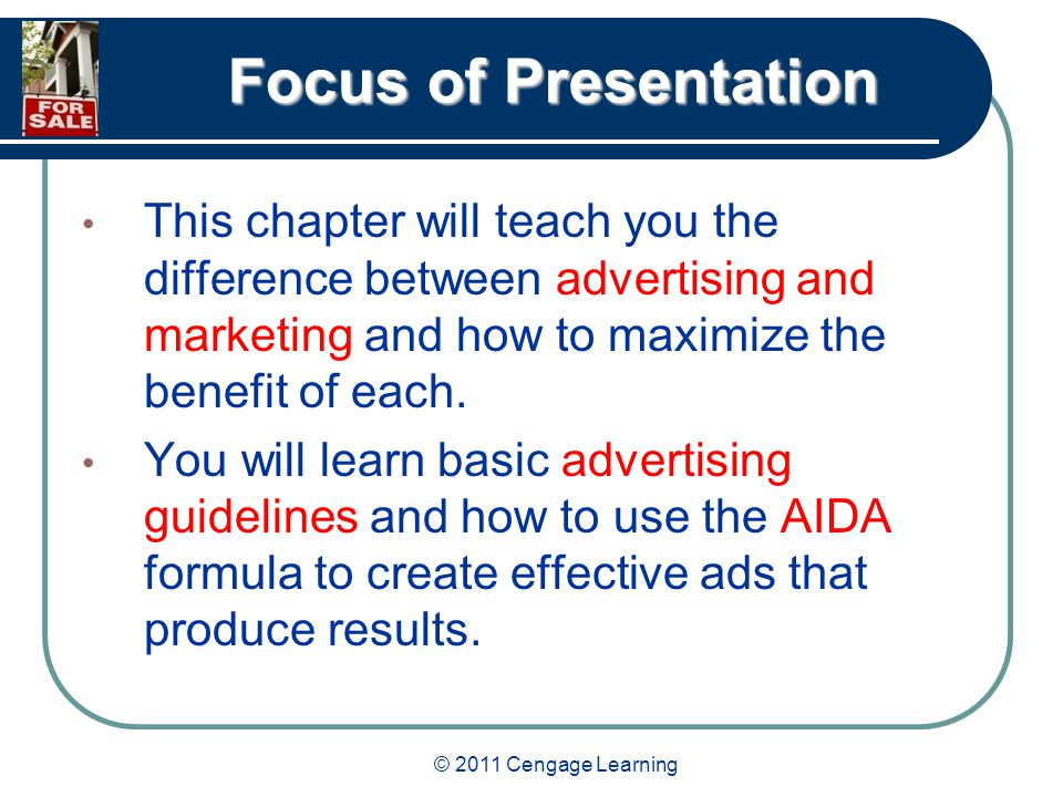 © 2011 Cengage Learning Focus of Presentation The growing value of the Internet and e- mail as advertising mediums will be discussed.