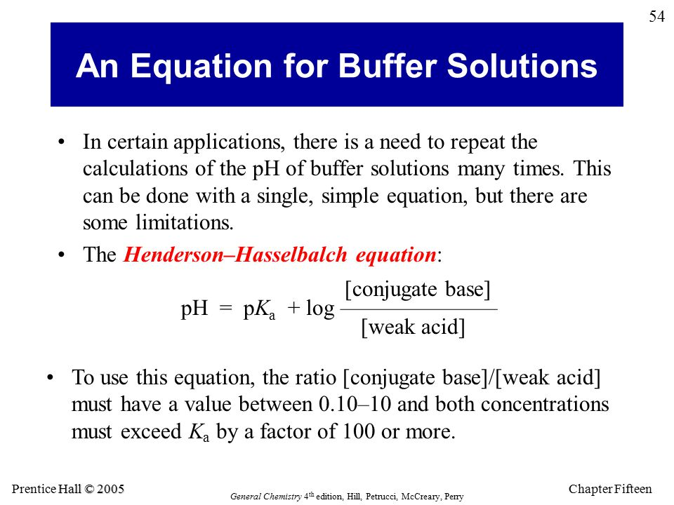 Chapter Fifteen 54 Hall © 2005 Prentice Hall © 2005 General Chemistry 4 th edition, Hill, Petrucci, McCreary, Perry An Equation for Buffer Solutions In certain applications, there is a need to repeat the calculations of the pH of buffer solutions many times.