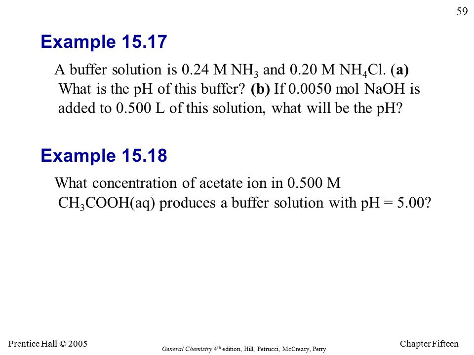Chapter Fifteen 59 Hall © 2005 Prentice Hall © 2005 General Chemistry 4 th edition, Hill, Petrucci, McCreary, Perry Example 15.17 A buffer solution is 0.24 M NH 3 and 0.20 M NH 4 Cl.
