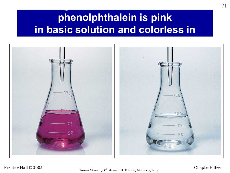 Chapter Fifteen 71 Hall © 2005 Prentice Hall © 2005 General Chemistry 4 th edition, Hill, Petrucci, McCreary, Perry Figure 8.6: The indicator phenolphthalein is pink in basic solution and colorless in acidic solution.