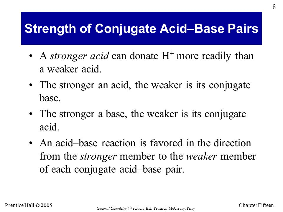 Chapter Fifteen 8 Hall © 2005 Prentice Hall © 2005 General Chemistry 4 th edition, Hill, Petrucci, McCreary, Perry Strength of Conjugate Acid–Base Pairs A stronger acid can donate H + more readily than a weaker acid.