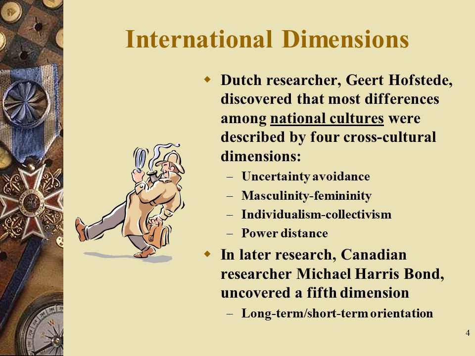 4 International Dimensions  Dutch researcher, Geert Hofstede, discovered that most differences among national cultures were described by four cross-c