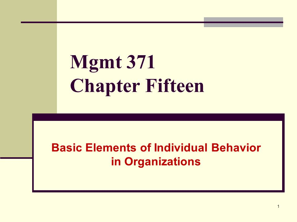 1 Mgmt 371 Chapter Fifteen Basic Elements of Individual Behavior in Organizations