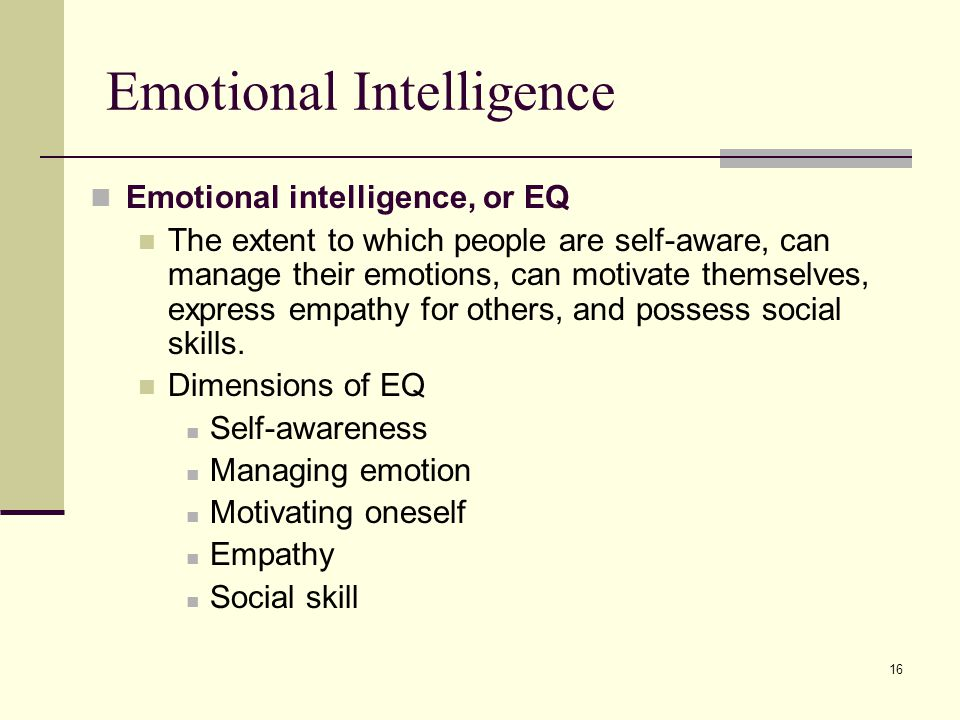 16 Emotional Intelligence Emotional intelligence, or EQ The extent to which people are self-aware, can manage their emotions, can motivate themselves,