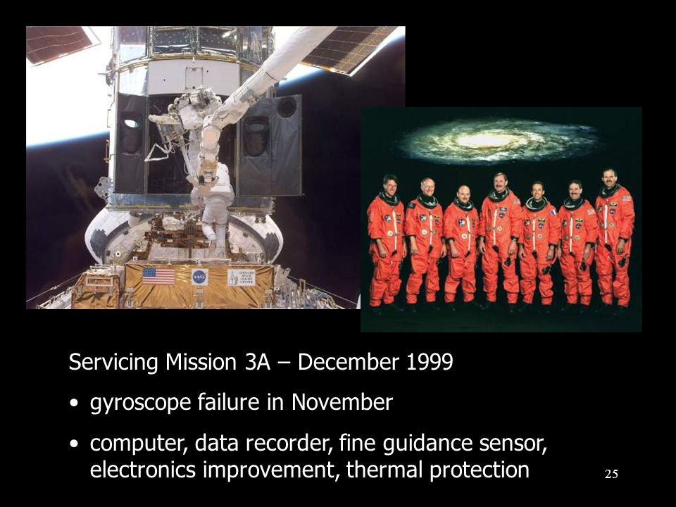 25 Servicing Mission 3A – December 1999 gyroscope failure in November computer, data recorder, fine guidance sensor, electronics improvement, thermal protection