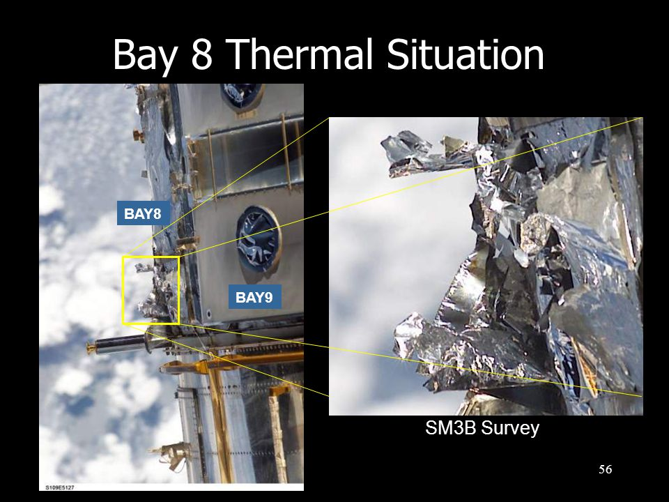 57 Bay 8 Thermal Situation Patched during SM2, however expected to be completely degraded PATCH BAY 7 BAY 8