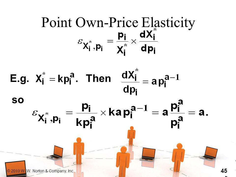 © 2010 W. W. Norton & Company, Inc. 45 Point Own-Price Elasticity E.g.Then so