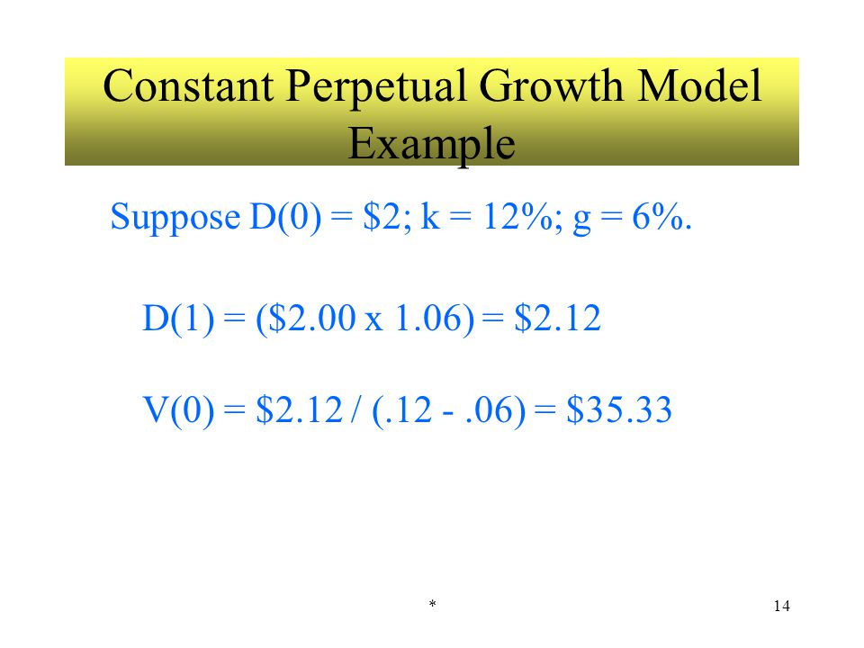 *14 Constant Perpetual Growth Model Example Suppose D(0) = $2; k = 12%; g = 6%.