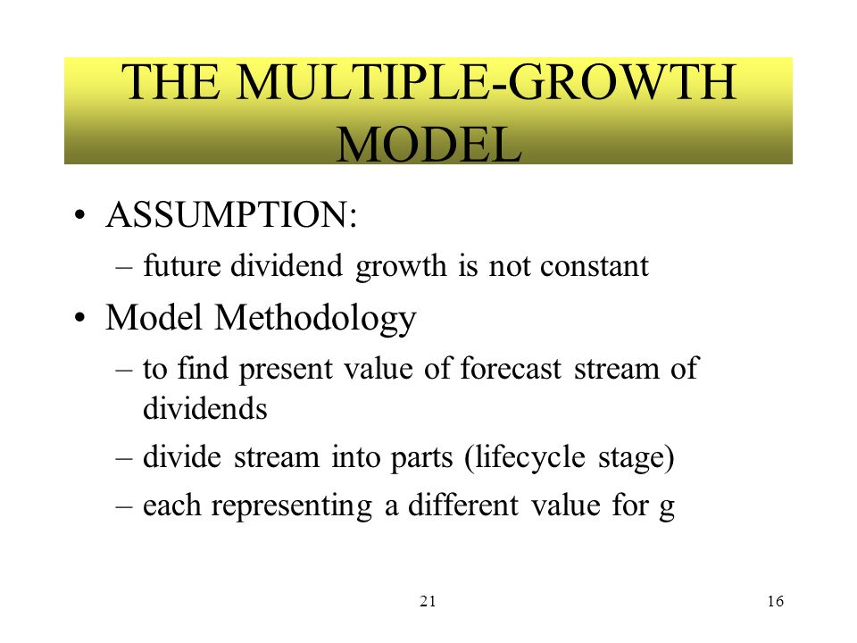 2116 THE MULTIPLE-GROWTH MODEL ASSUMPTION: –future dividend growth is not constant Model Methodology –to find present value of forecast stream of dividends –divide stream into parts (lifecycle stage) –each representing a different value for g