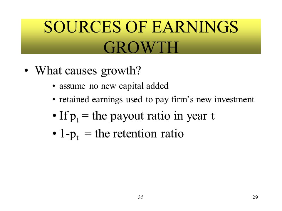 3529 SOURCES OF EARNINGS GROWTH What causes growth.
