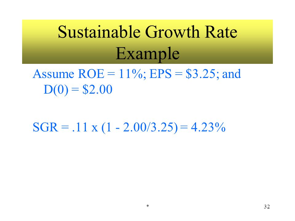 *32 Sustainable Growth Rate Example Assume ROE = 11%; EPS = $3.25; and D(0) = $2.00 SGR =.11 x (1 - 2.00/3.25) = 4.23%
