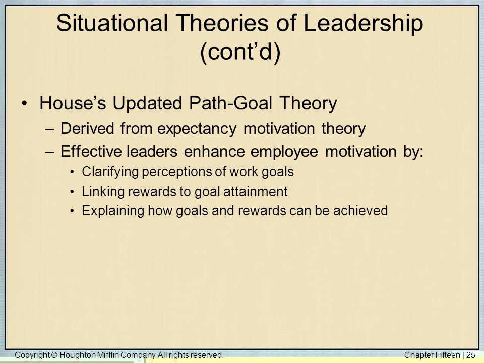 Copyright © Houghton Mifflin Company. All rights reserved.Chapter Fifteen | 25 Situational Theories of Leadership (cont'd) House's Updated Path-Goal T