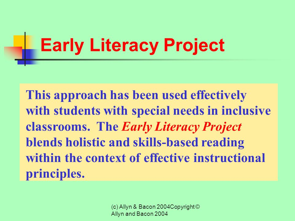 (c) Allyn & Bacon 2004Copyright © Allyn and Bacon 2004 Results from the National Reading Panel (2000)  Comprehension Monitoring  Cooperative Learnin