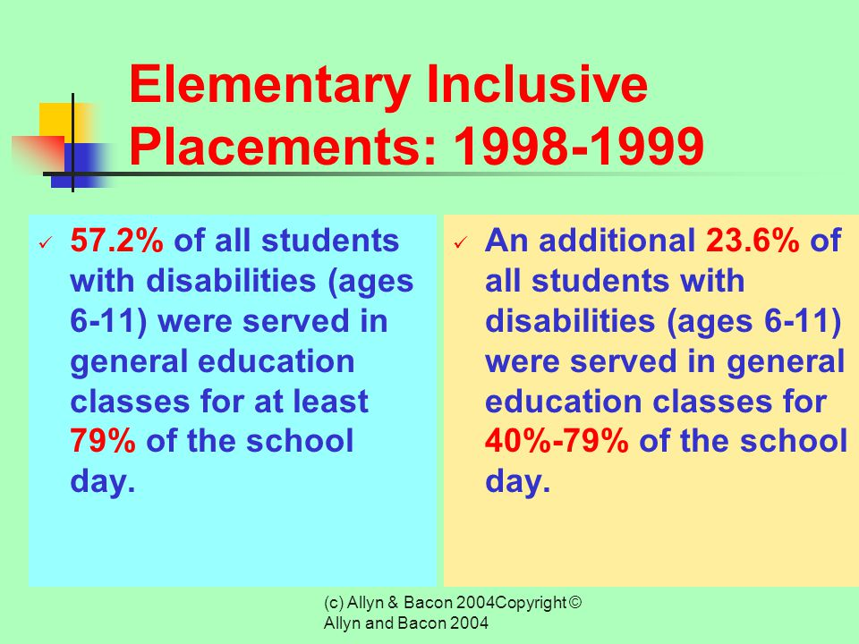 (c) Allyn & Bacon 2004Copyright © Allyn and Bacon 2004 Inclusion at the Elementary Level The advent of the inclusion movement has increased the likeli
