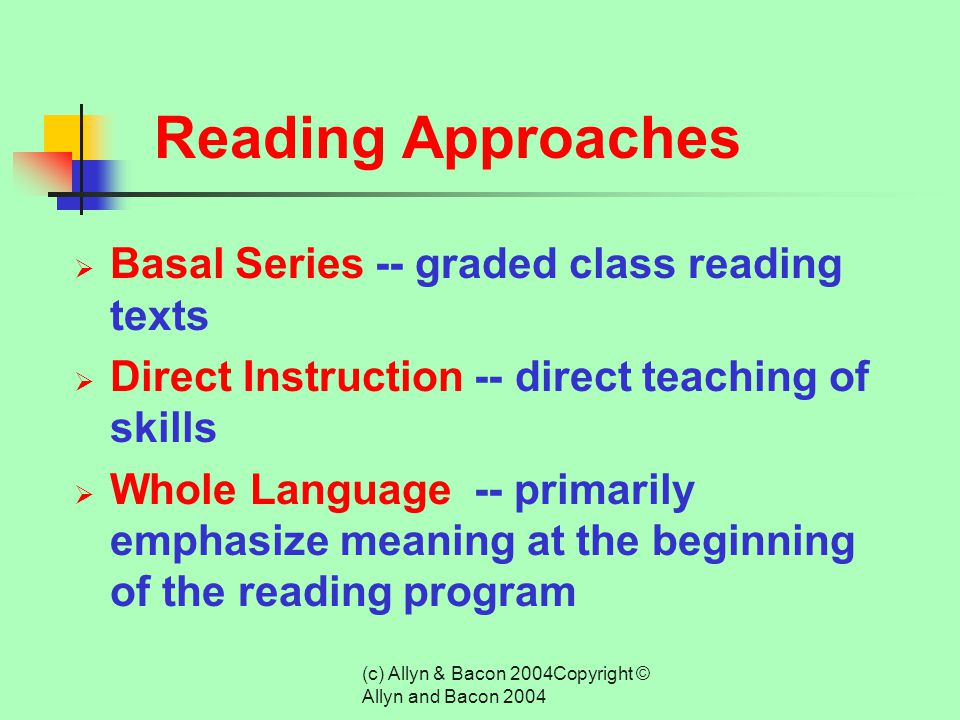 (c) Allyn & Bacon 2004Copyright © Allyn and Bacon 2004 Curricular Content  Academic Instruction for Students with Disabilities Includes:  Reading In