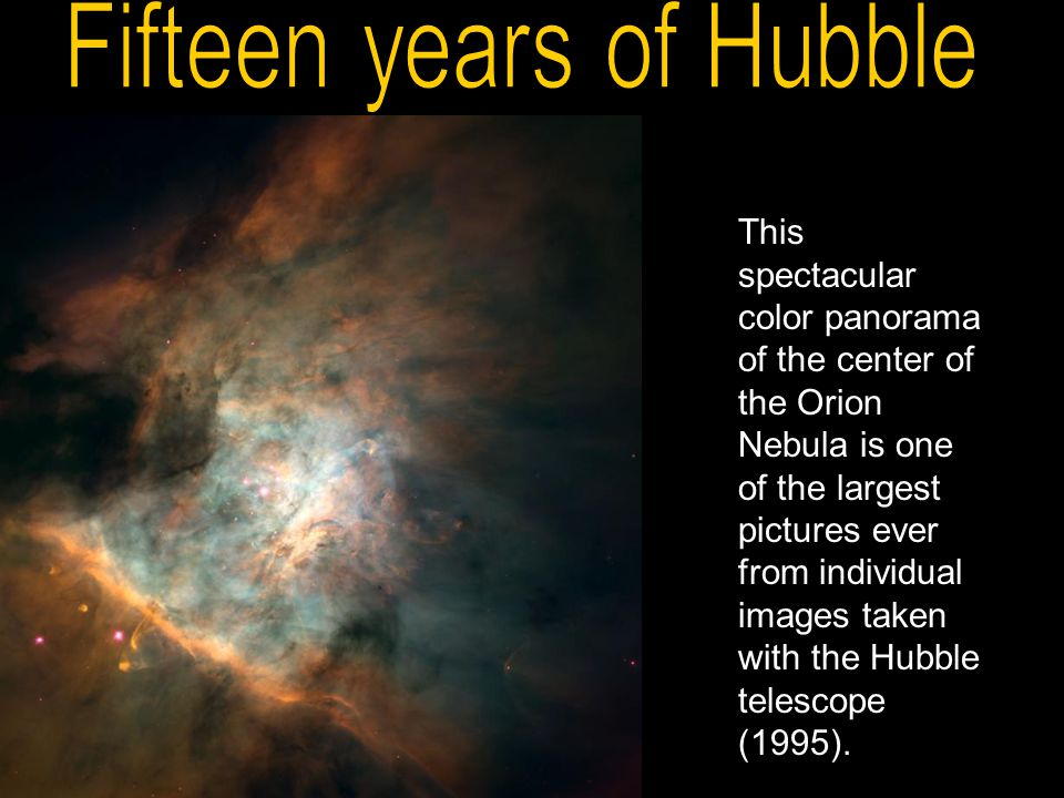 This spectacular color panorama of the center of the Orion Nebula is one of the largest pictures ever from individual images taken with the Hubble tel