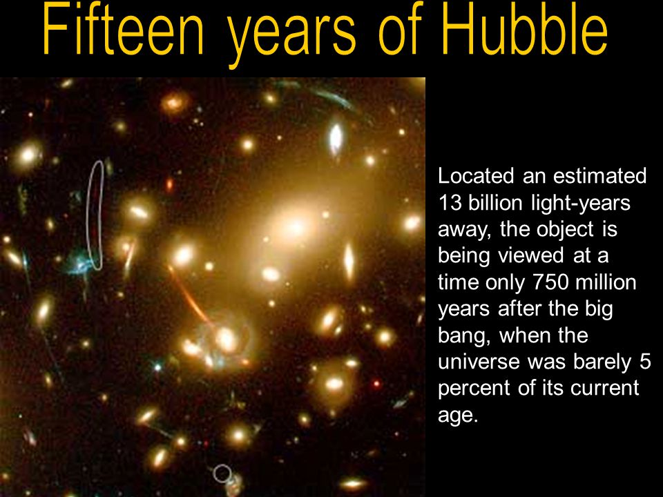 Located an estimated 13 billion light-years away, the object is being viewed at a time only 750 million years after the big bang, when the universe wa
