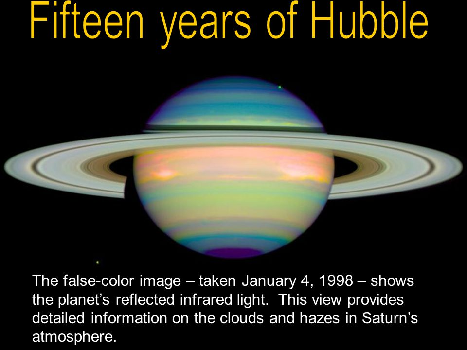 The false-color image – taken January 4, 1998 – shows the planet's reflected infrared light. This view provides detailed information on the clouds and
