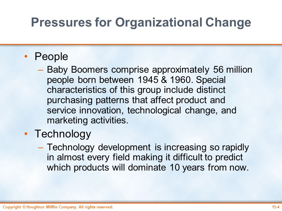Copyright © Houghton Mifflin Company. All rights reserved.15-4 Pressures for Organizational Change People –Baby Boomers comprise approximately 56 mill
