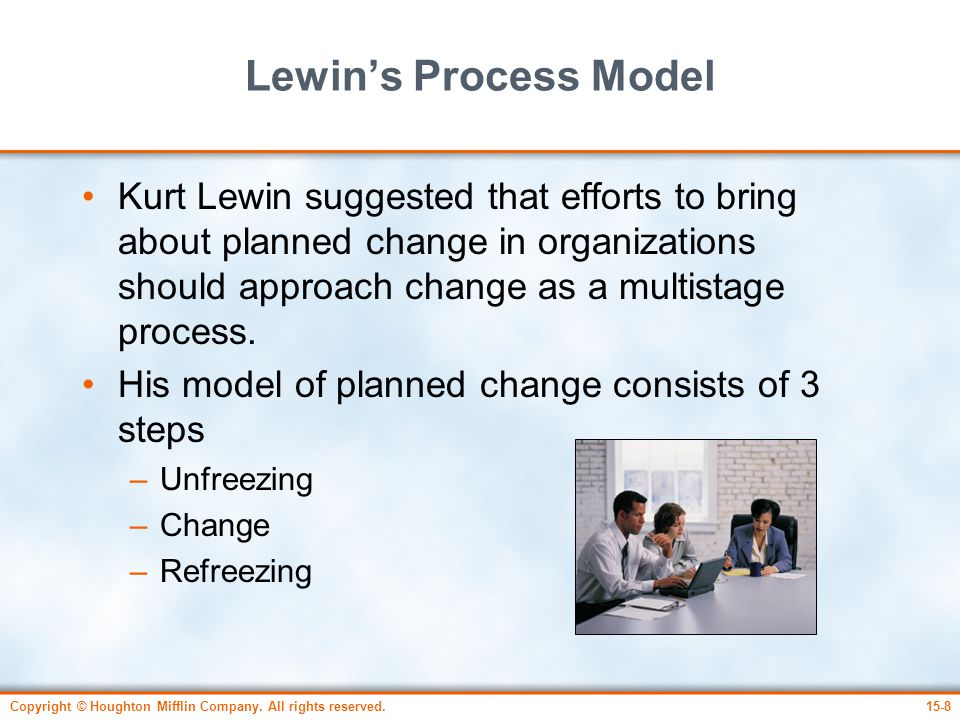 Copyright © Houghton Mifflin Company. All rights reserved.15-8 Lewin's Process Model Kurt Lewin suggested that efforts to bring about planned change i