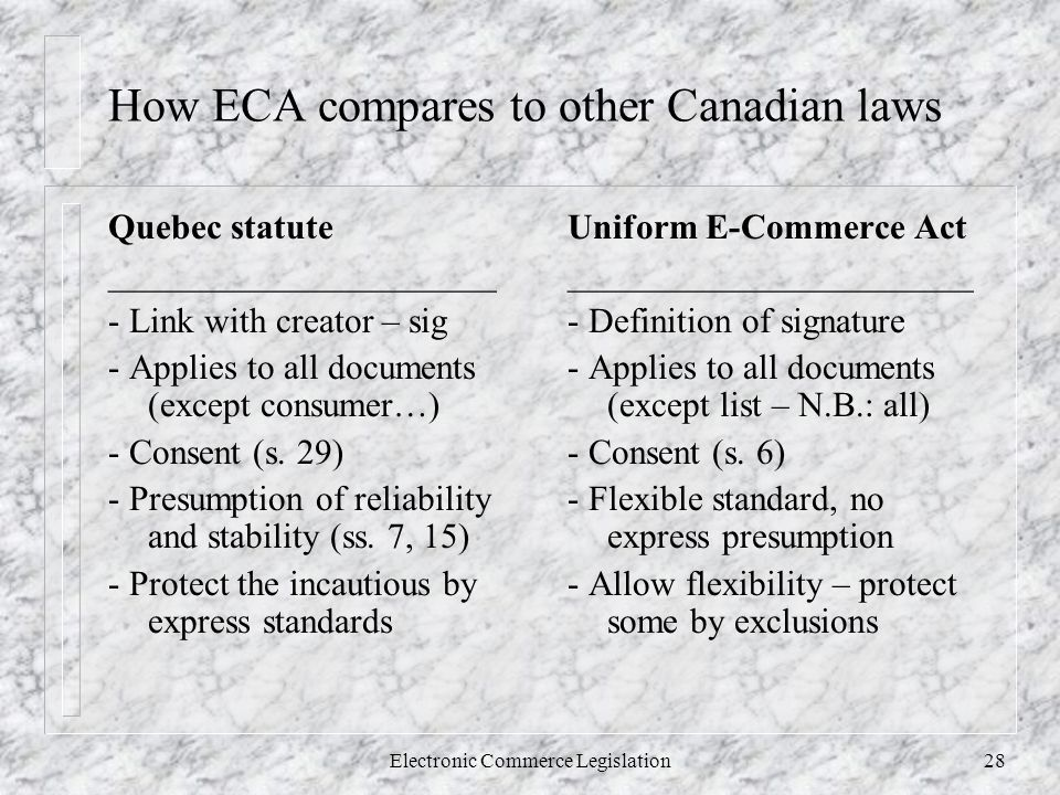 Electronic Commerce Legislation28 How ECA compares to other Canadian laws Quebec statute ______________________ - Link with creator – sig - Applies to all documents (except consumer…) - Consent (s.