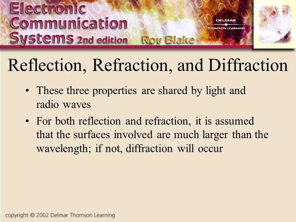 Reflection, Refraction, and Diffraction These three properties are shared by light and radio waves For both reflection and refraction, it is assumed that the surfaces involved are much larger than the wavelength; if not, diffraction will occur