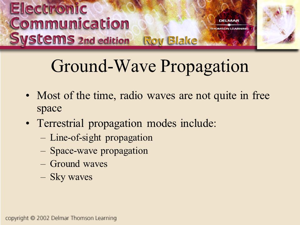 Ground-Wave Propagation Most of the time, radio waves are not quite in free space Terrestrial propagation modes include: –Line-of-sight propagation –Space-wave propagation –Ground waves –Sky waves