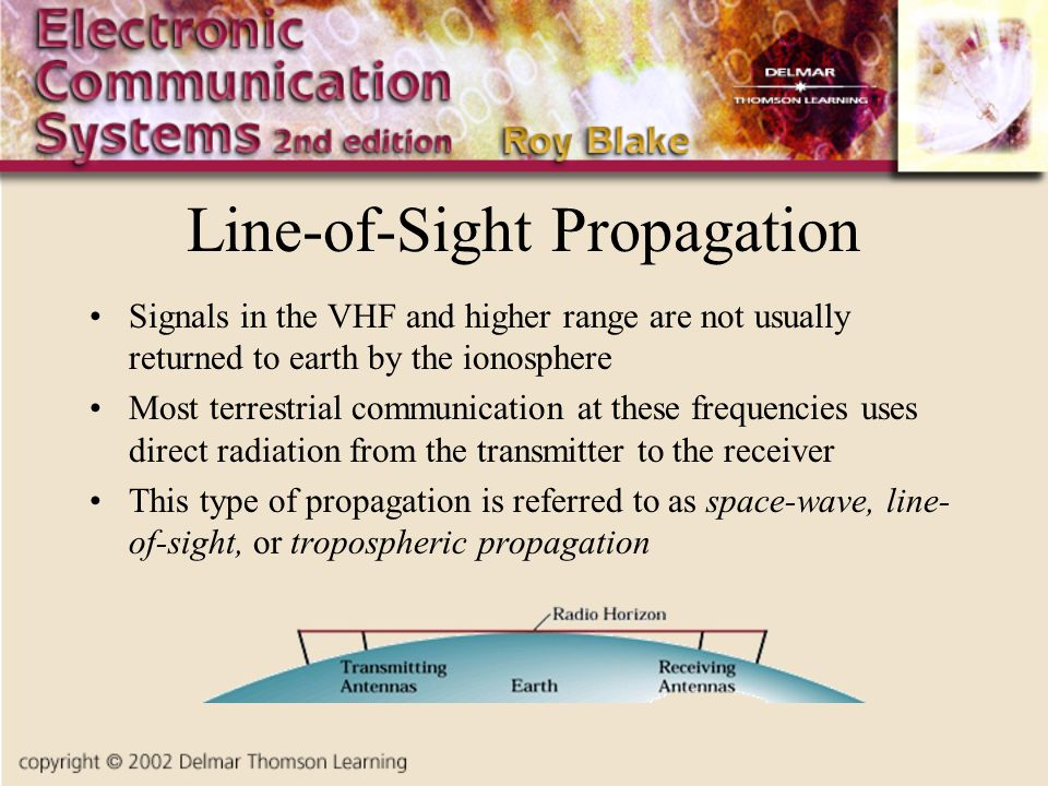 Line-of-Sight Propagation Signals in the VHF and higher range are not usually returned to earth by the ionosphere Most terrestrial communication at these frequencies uses direct radiation from the transmitter to the receiver This type of propagation is referred to as space-wave, line- of-sight, or tropospheric propagation