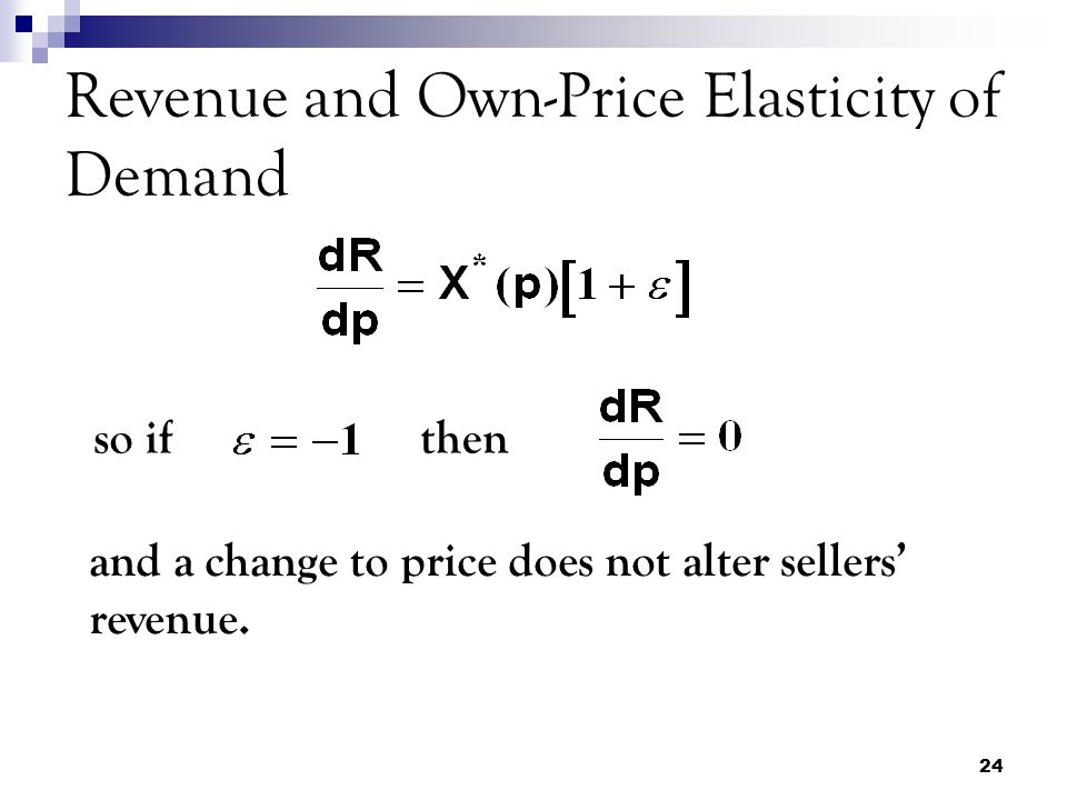 24 Revenue and Own-Price Elasticity of Demand so ifthen and a change to price does not alter sellers' revenue.