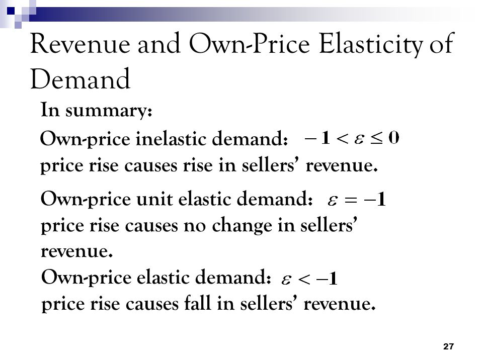 27 Revenue and Own-Price Elasticity of Demand In summary: Own-price inelastic demand: price rise causes rise in sellers' revenue.