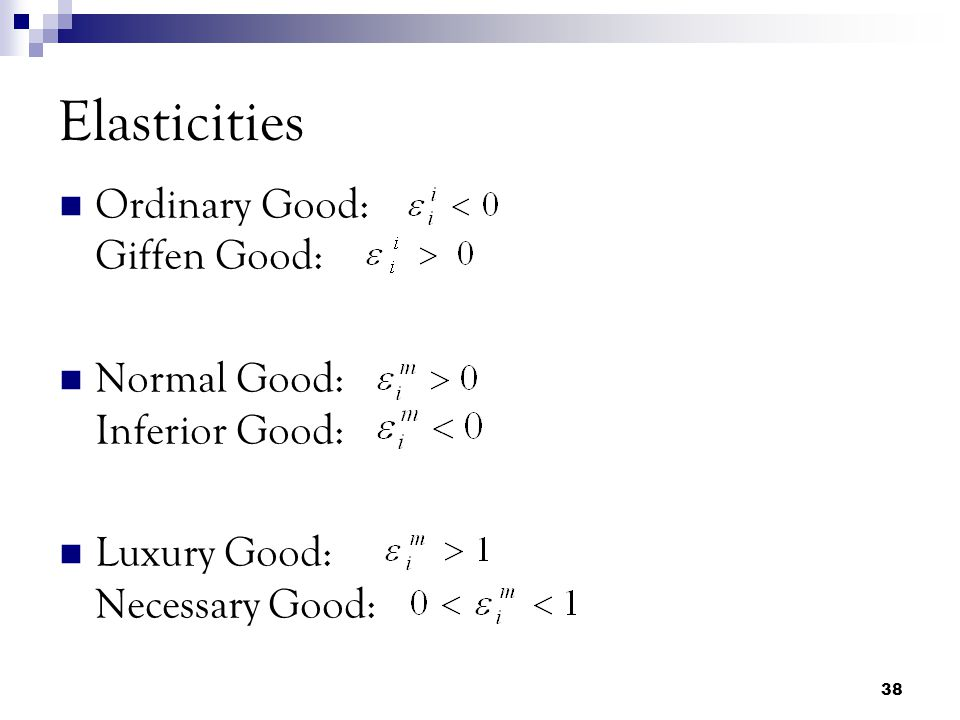 Ordinary Good: Giffen Good: Normal Good: Inferior Good: Luxury Good: Necessary Good: Elasticities 38