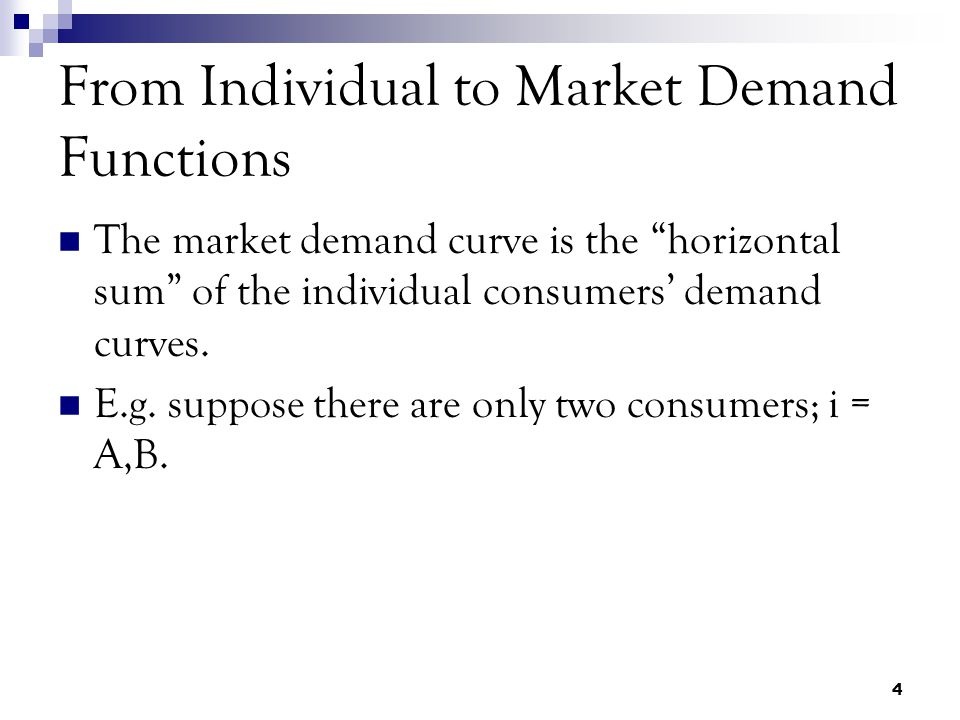 4 From Individual to Market Demand Functions The market demand curve is the horizontal sum of the individual consumers' demand curves.
