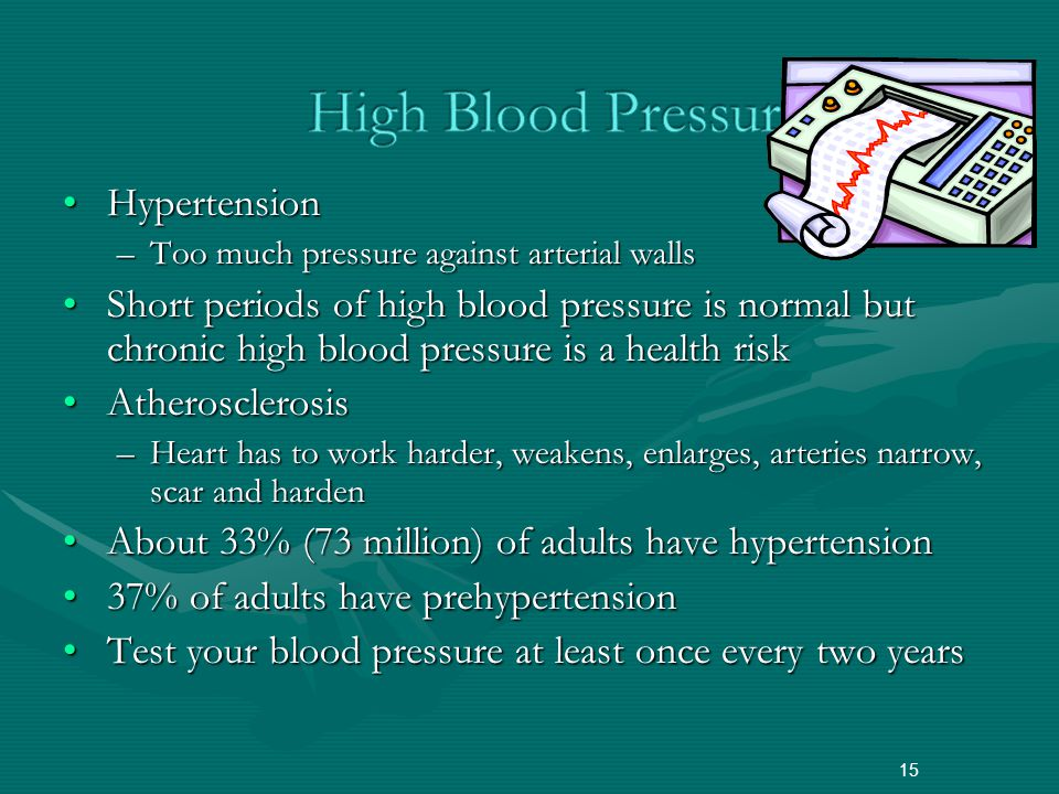 HypertensionHypertension –Too much pressure against arterial walls Short periods of high blood pressure is normal but chronic high blood pressure is a health riskShort periods of high blood pressure is normal but chronic high blood pressure is a health risk AtherosclerosisAtherosclerosis –Heart has to work harder, weakens, enlarges, arteries narrow, scar and harden About 33% (73 million) of adults have hypertensionAbout 33% (73 million) of adults have hypertension 37% of adults have prehypertension37% of adults have prehypertension Test your blood pressure at least once every two yearsTest your blood pressure at least once every two years 15