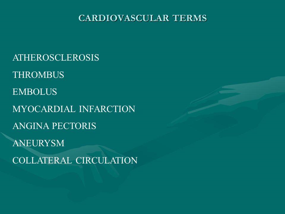 CARDIOVASCULAR TERMS ATHEROSCLEROSIS THROMBUS EMBOLUS MYOCARDIAL INFARCTION ANGINA PECTORIS ANEURYSM COLLATERAL CIRCULATION
