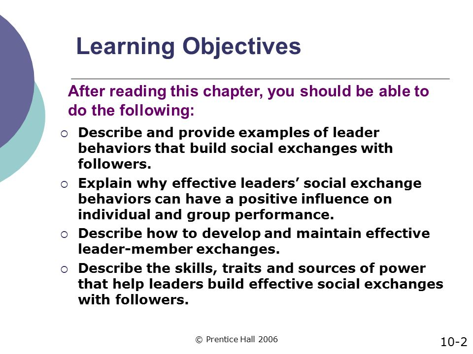 © Prentice Hall 2006 Learning Objectives (cont.)  Identify situational factors that enhance, neutralize, or substitute for leader exchange behaviors.