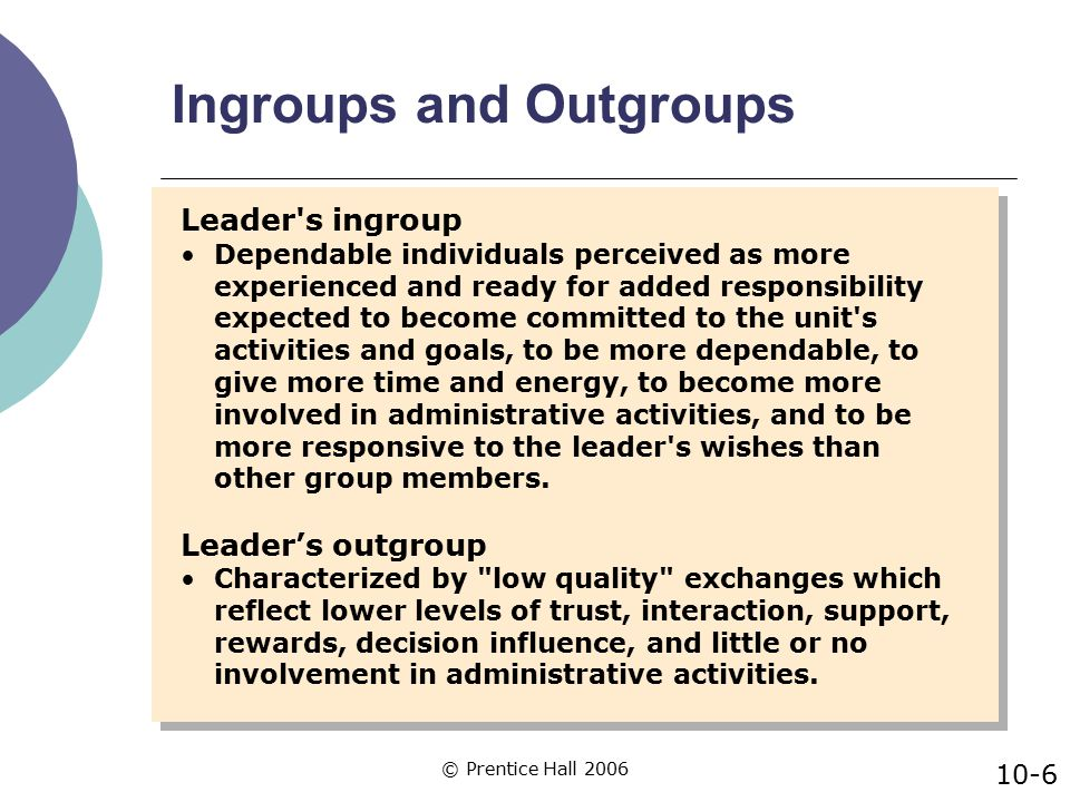© Prentice Hall 2006 When to Use Social Exchange Behaviors  One reason that leaders develop high quality exchanges with specific followers is to help fulfill the leader's responsibilities.