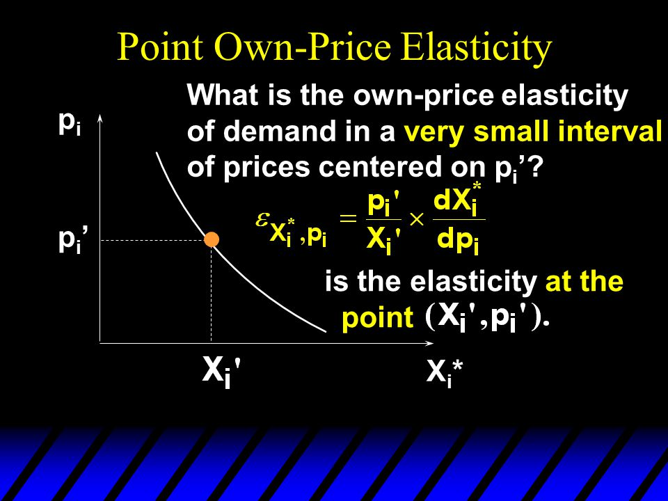 Point Own-Price Elasticity pipi Xi*Xi* pi'pi' What is the own-price elasticity of demand in a very small interval of prices centered on p i '.