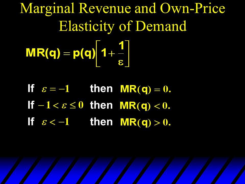 Marginal Revenue and Own-Price Elasticity of Demand Ifthen Ifthen Ifthen