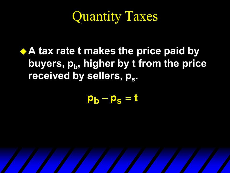 Quantity Taxes  A tax rate t makes the price paid by buyers, p b, higher by t from the price received by sellers, p s.