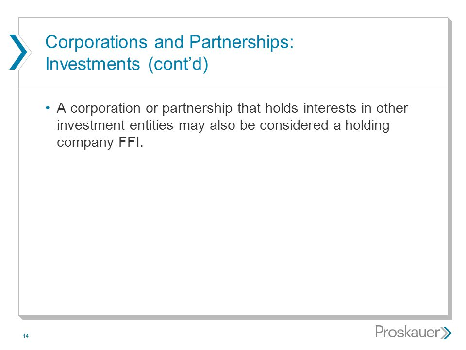14 Corporations and Partnerships: Investments (cont'd) A corporation or partnership that holds interests in other investment entities may also be cons