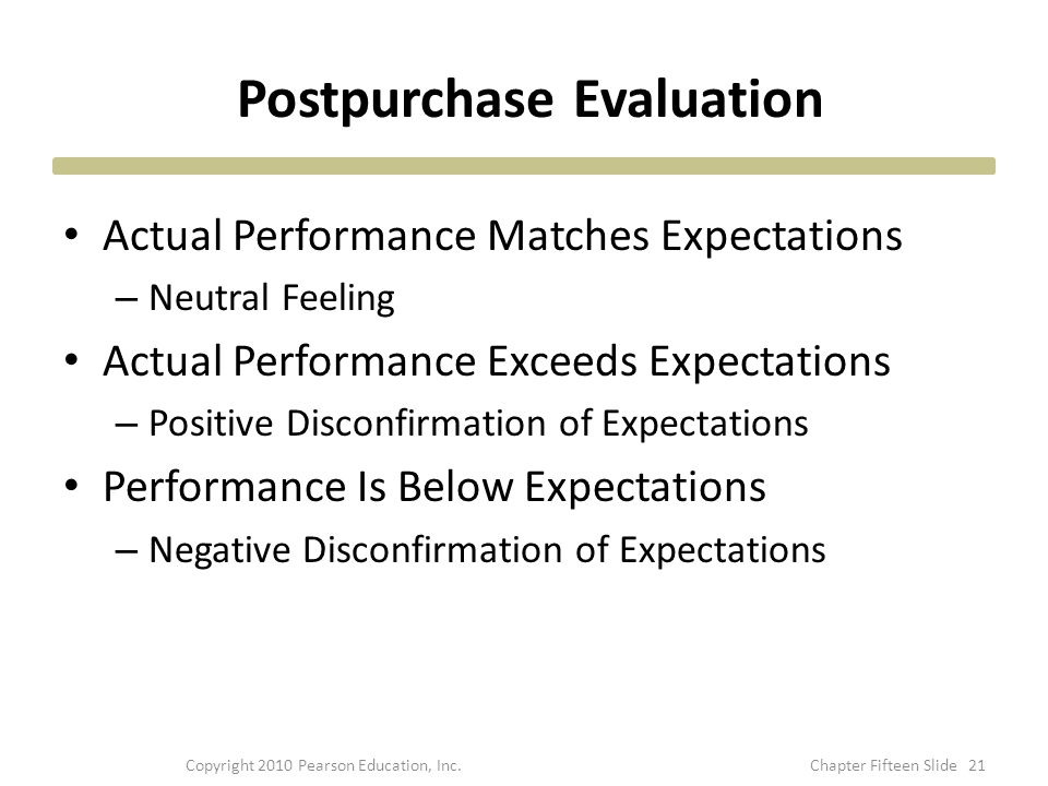 Postpurchase Evaluation Actual Performance Matches Expectations – Neutral Feeling Actual Performance Exceeds Expectations – Positive Disconfirmation of Expectations Performance Is Below Expectations – Negative Disconfirmation of Expectations 21Copyright 2010 Pearson Education, Inc.