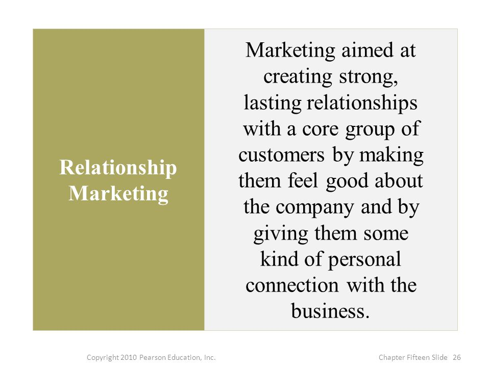 Relationship Marketing Marketing aimed at creating strong, lasting relationships with a core group of customers by making them feel good about the company and by giving them some kind of personal connection with the business.