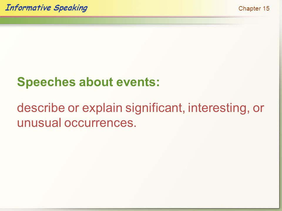 Informative Speaking Chapter 15