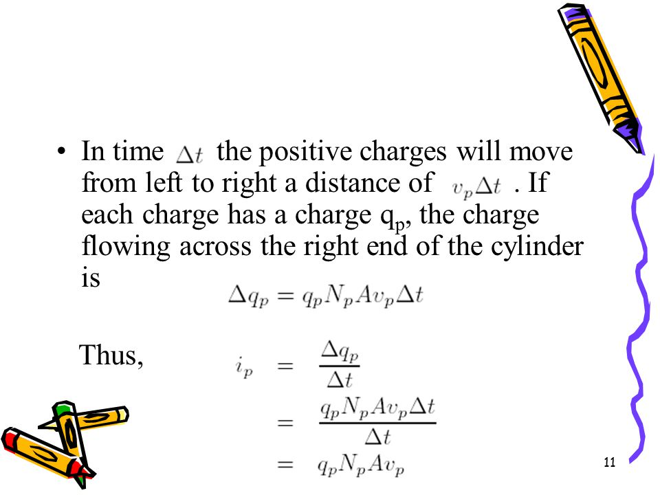 11 In time the positive charges will move from left to right a distance of.