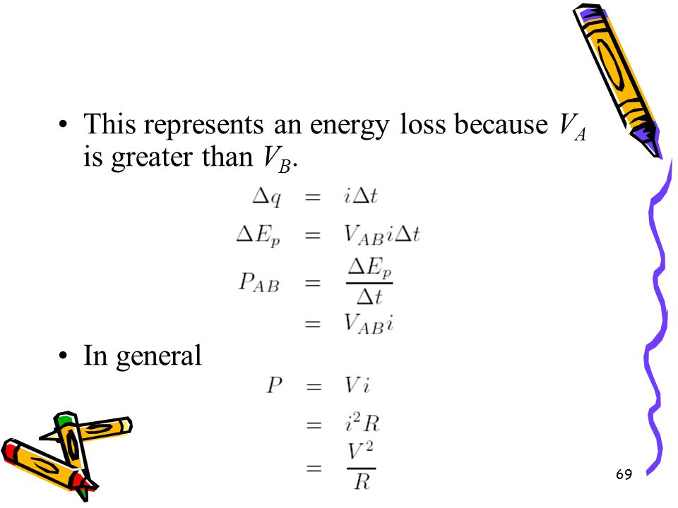 69 This represents an energy loss because V A is greater than V B. In general