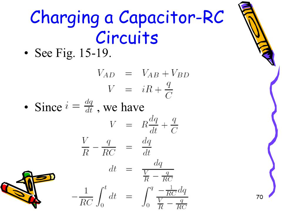 70 Charging a Capacitor-RC Circuits See Fig. 15-19. Since, we have