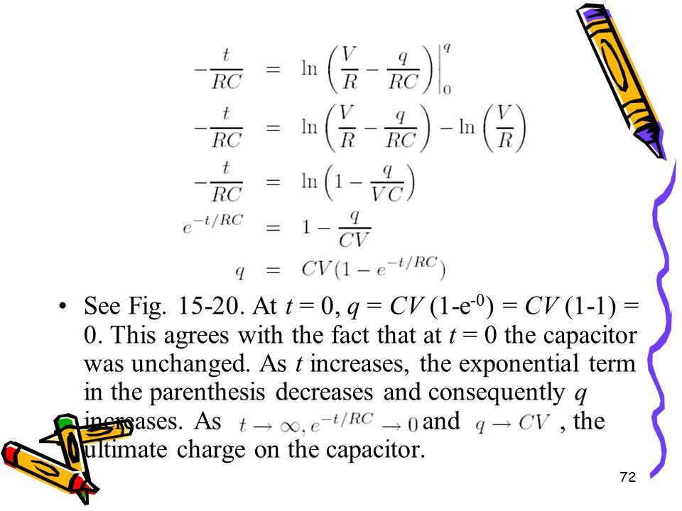 72 See Fig. 15-20. At t = 0, q = CV (1-e -0 ) = CV (1-1) = 0.